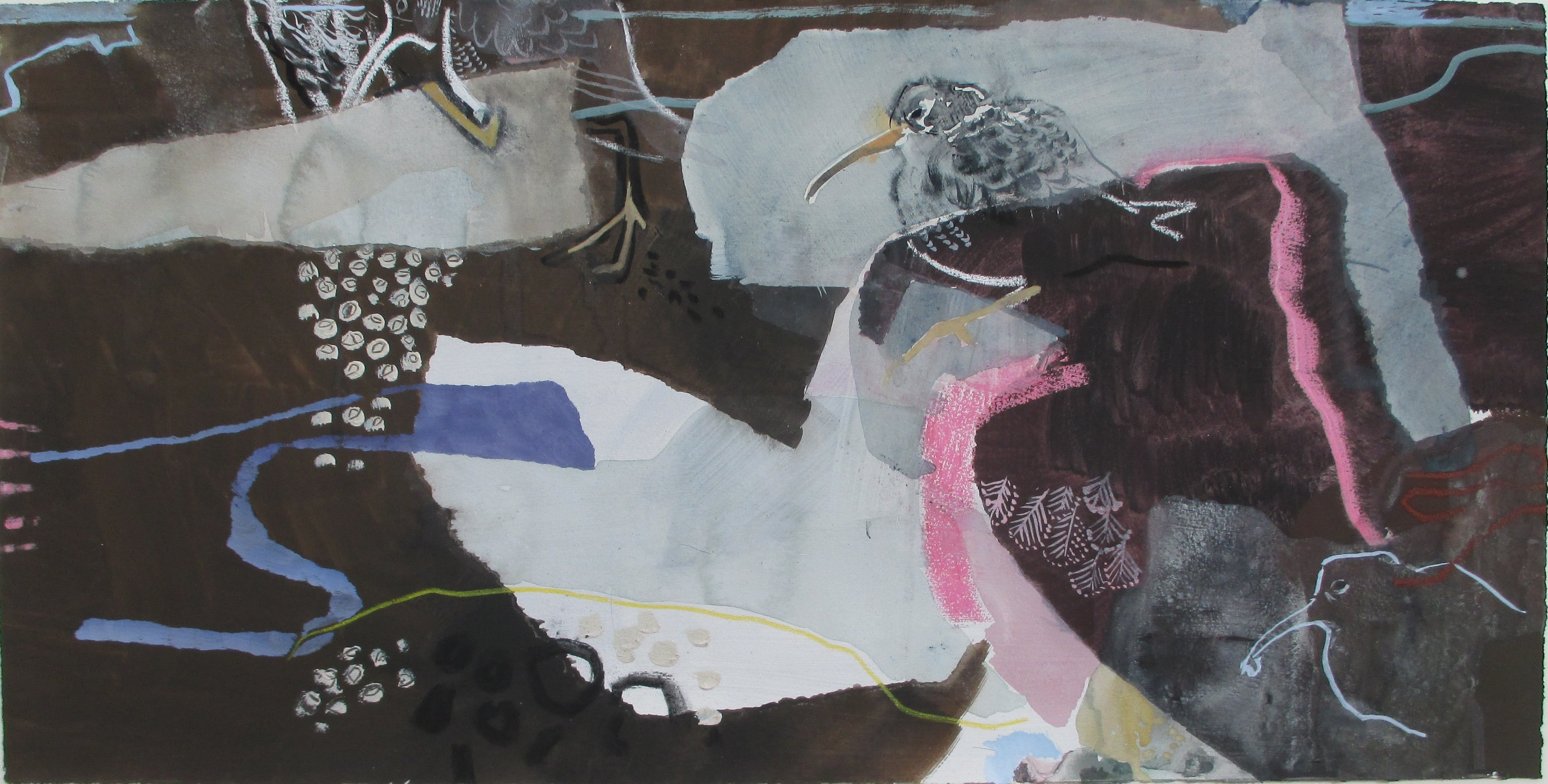 Purple sandpipers, Low water, mixed media