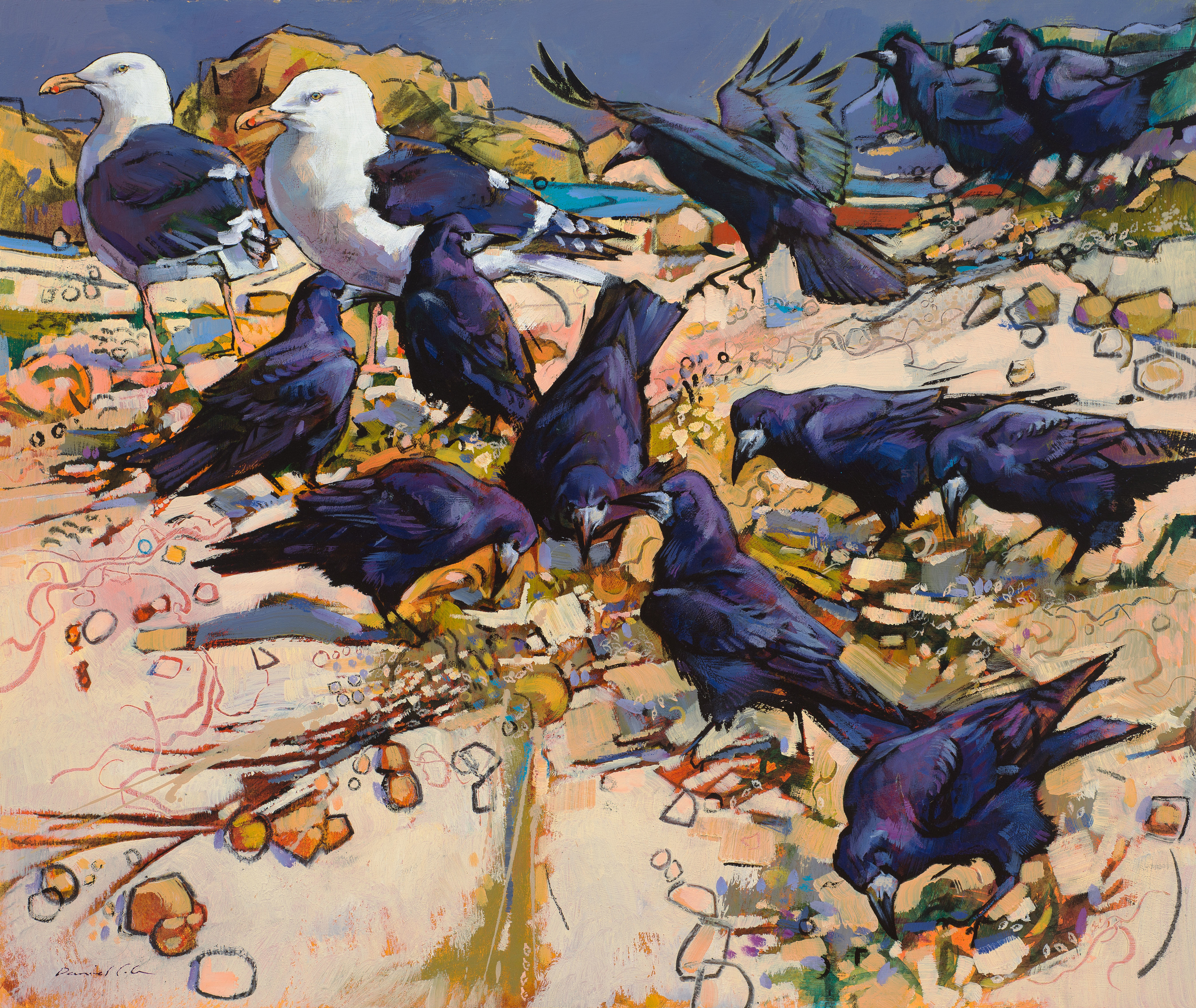 Great black backed Gulls and Rooks, Oil & charcoal, 87 x 80 cm