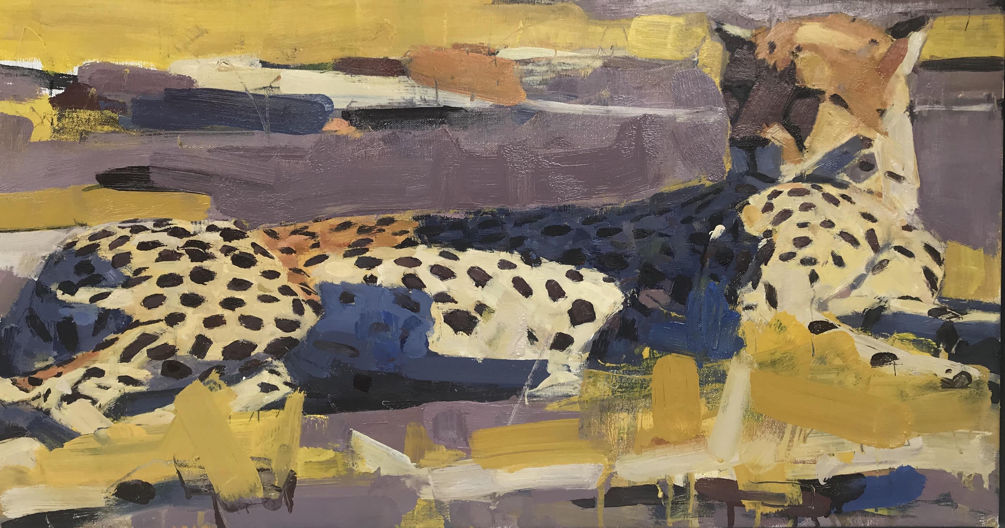 Cheetah, Kwando Lagoon, Botswana, Oil, 47 cm x 83 cm