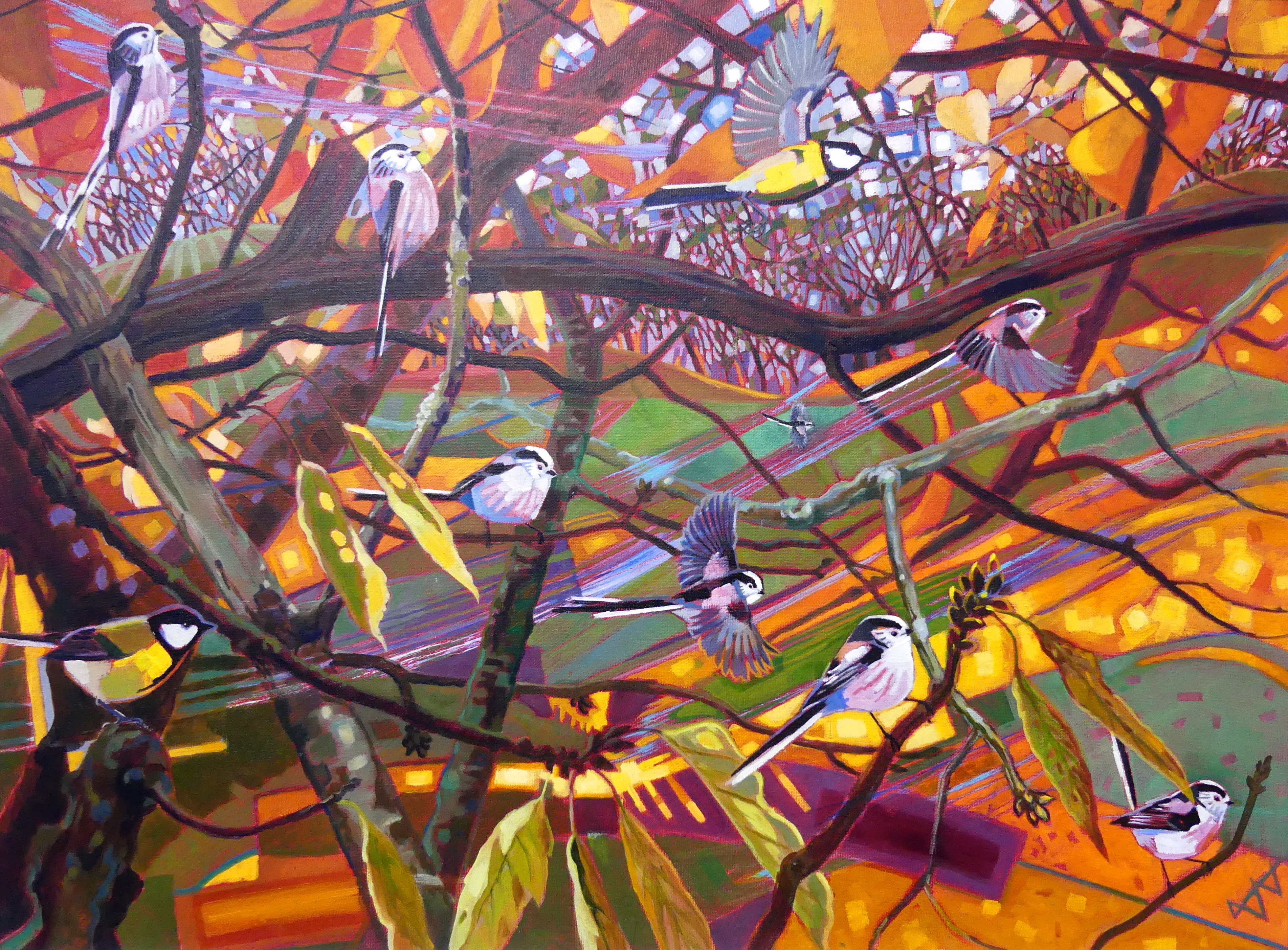 Autumn Long-tails and Great Tits, Oil on canvas, 80cm x 60cm