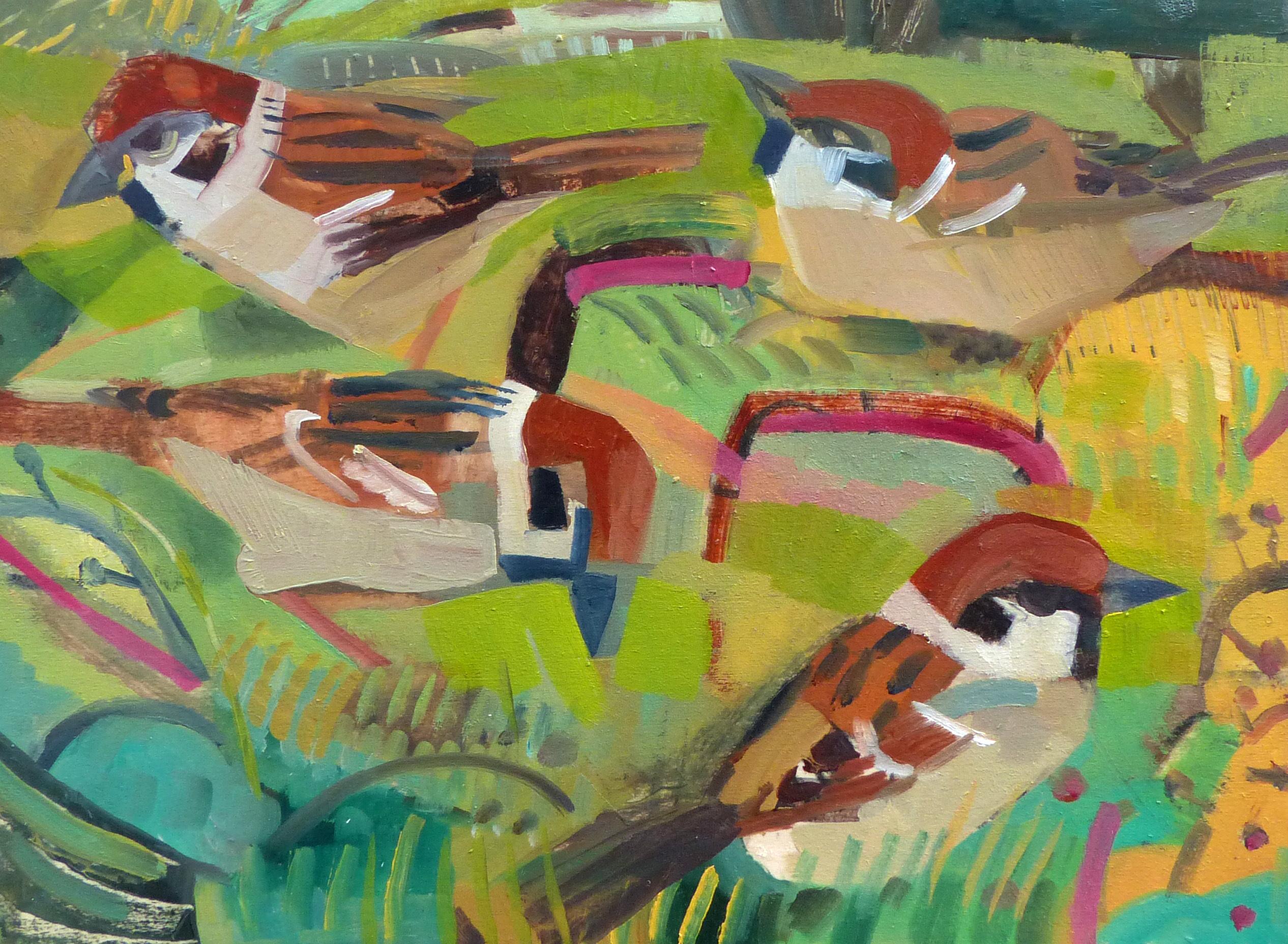 Garden Tree Sparrows, Oil on board, 23 cm x 31 cm