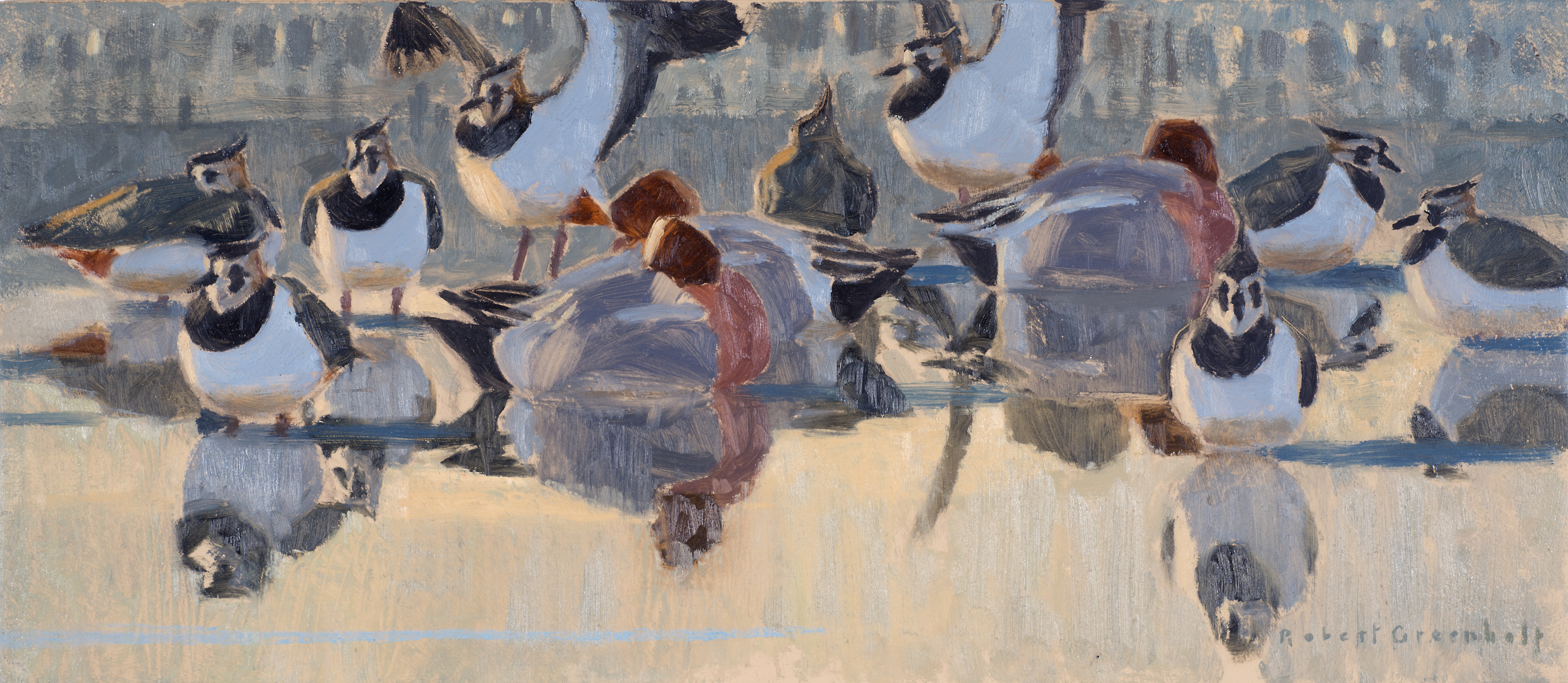 Lapwings and wigeon, oil