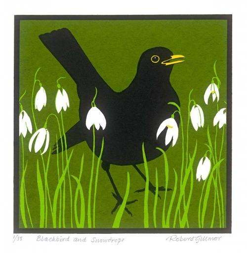 <p>Blackbird and snowdrops by Robert Gillmor</p>