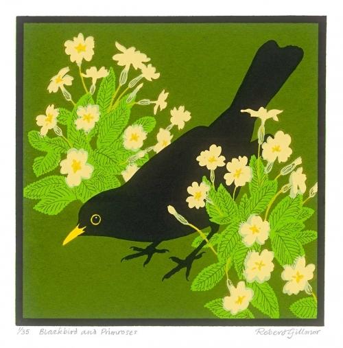 <p>Blackbird and primroses by Robert Gillmor</p>