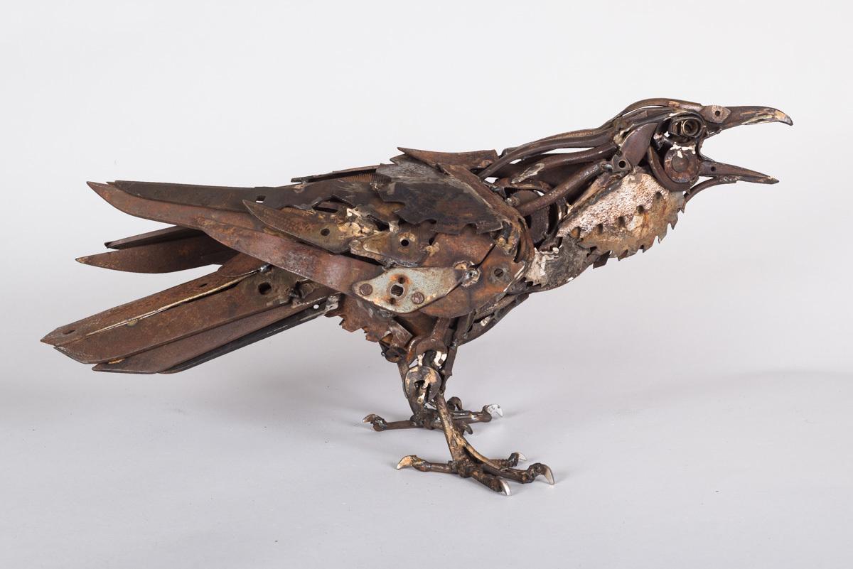 Sawblade Raven, Welded found objects, 35 x 70 x 30 cm
