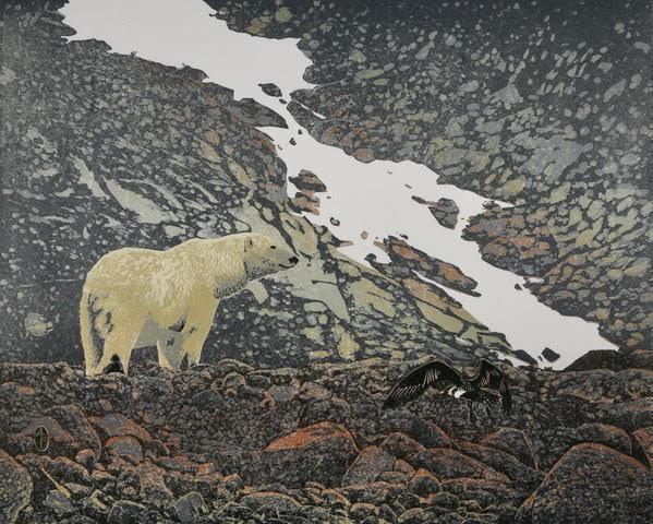 Polar Bear and Skua, Woodblock Print, 43 cm x 53 cm