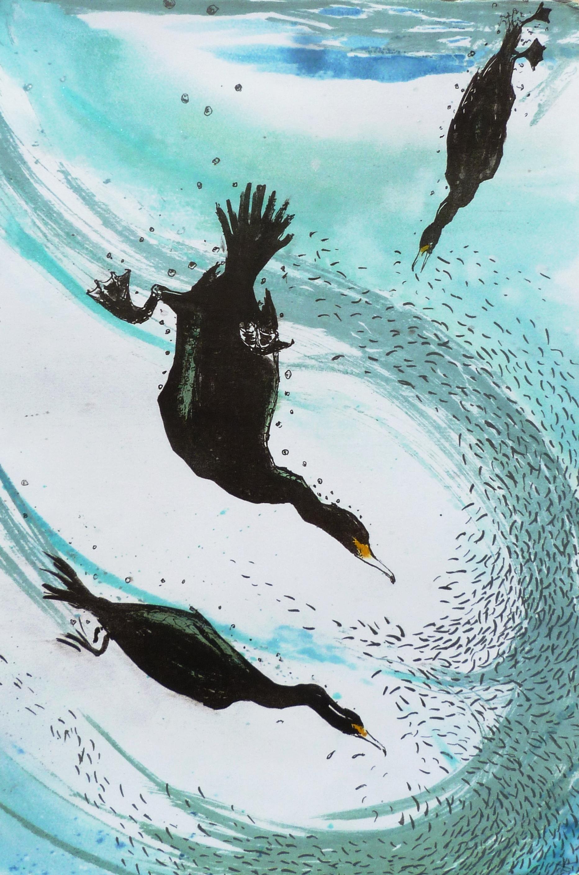 Diving birds, Mokulito print, 60 cm x 40 cm