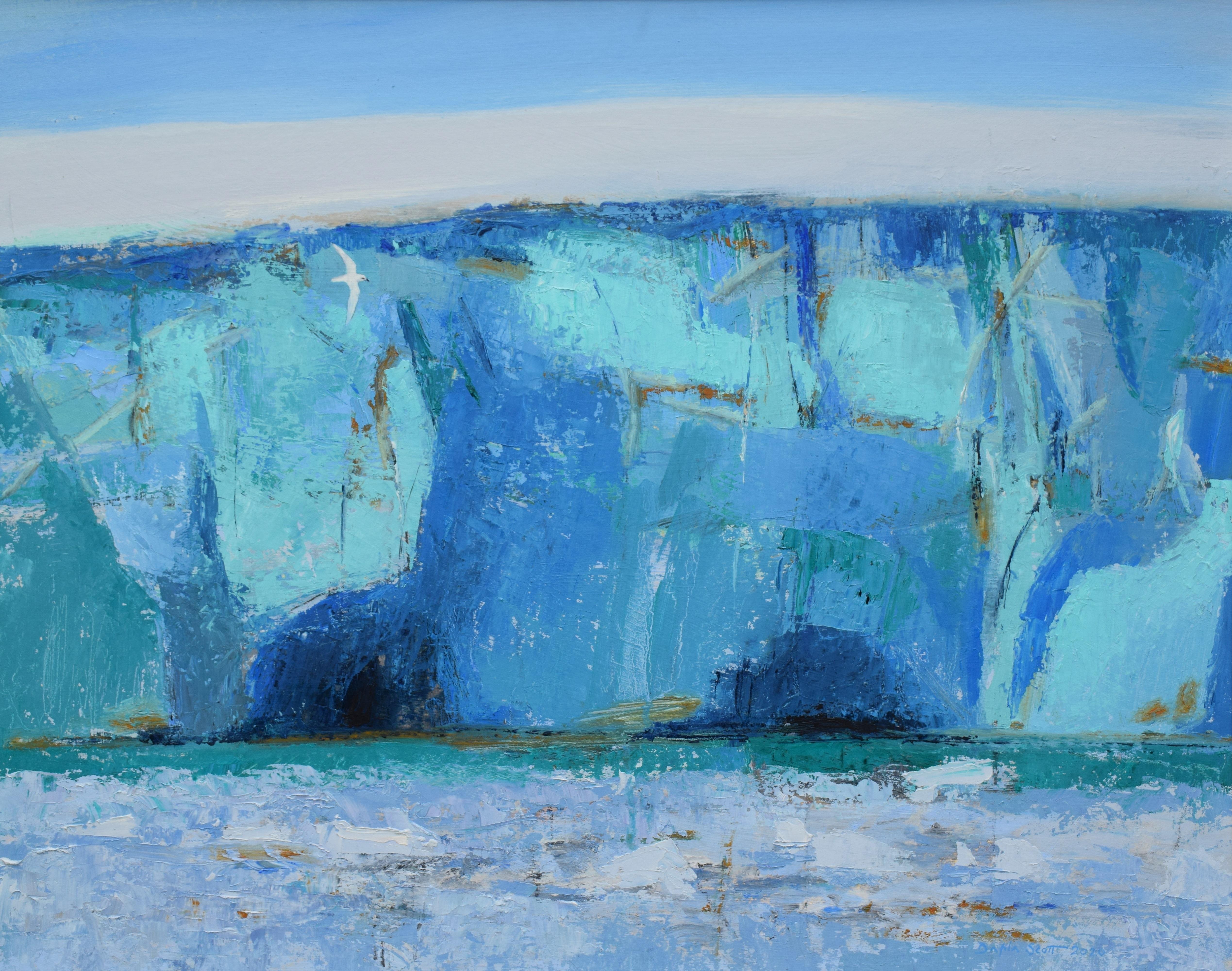 <p>Snoe Petrel and ice cliff by Dafila Scott</p>