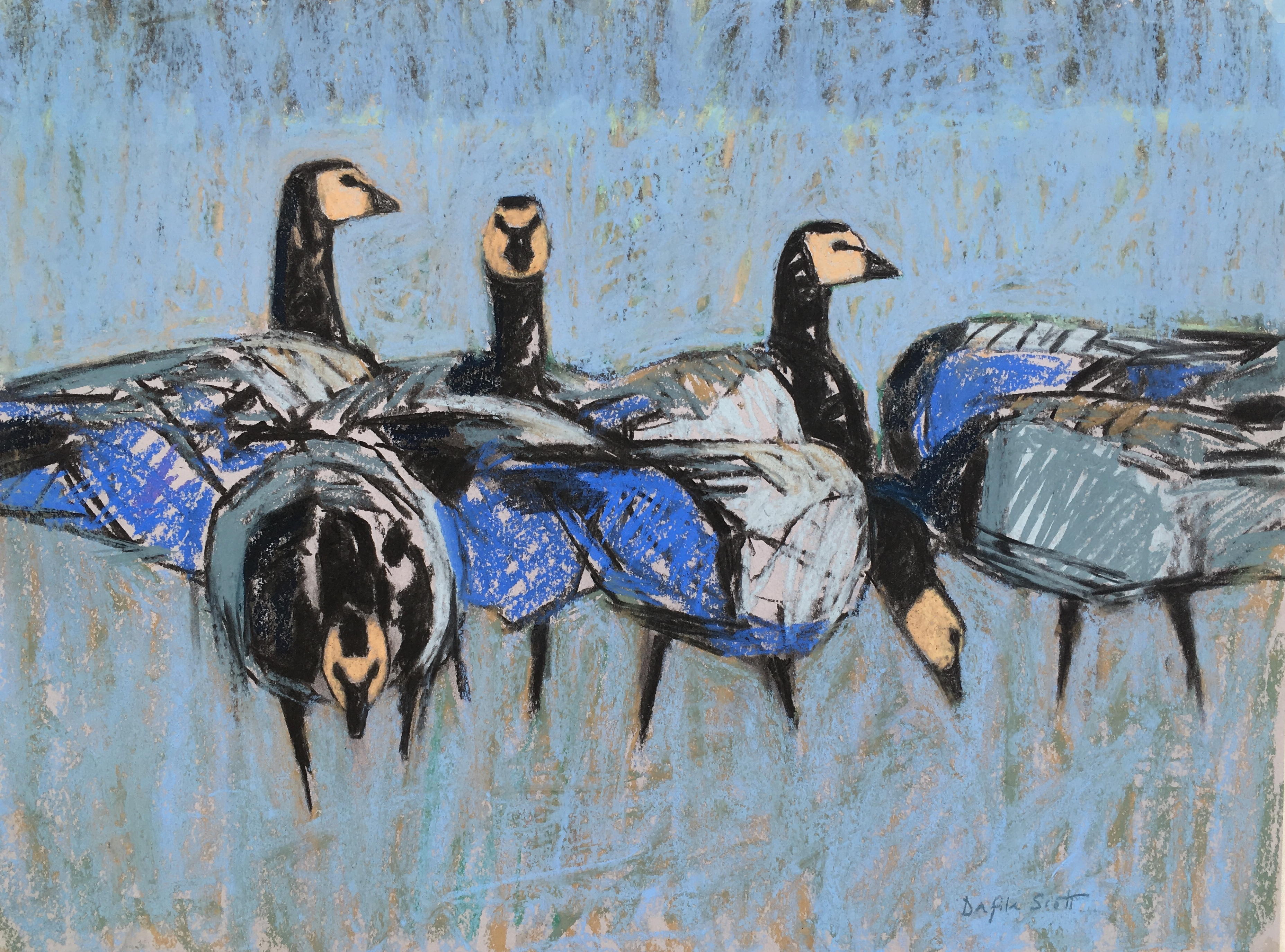 Barnacle Geese Frosty Morning, Pastel