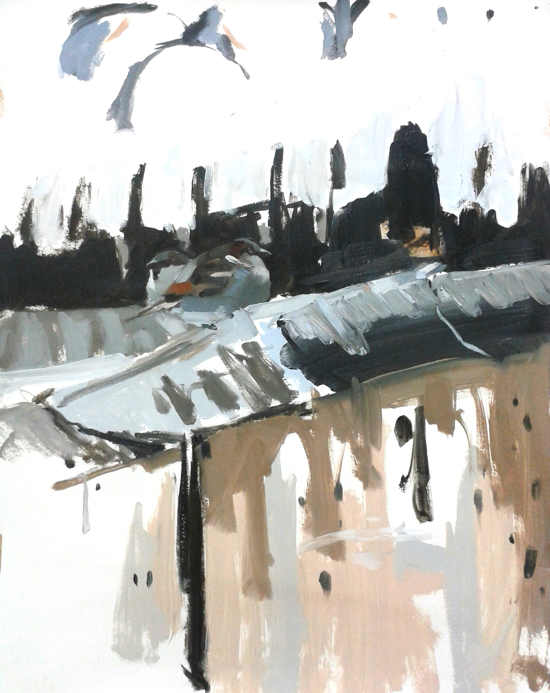 House Sparrows in the gutter, oil on paper