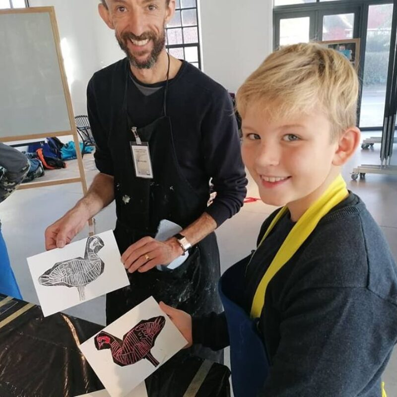 Nik with one of the students form the workshop, with a barnacle goose monoprint  © Ulrik Pedersen