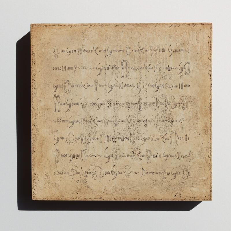 Ibby Lanfear, Test Owl Script Panel, mixed media on wood panel