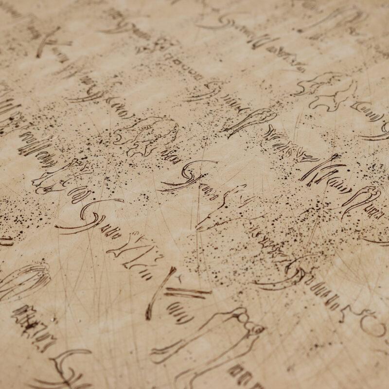 Ibby Lanfear, Owl Pellet Script, detail, mixed media on panel