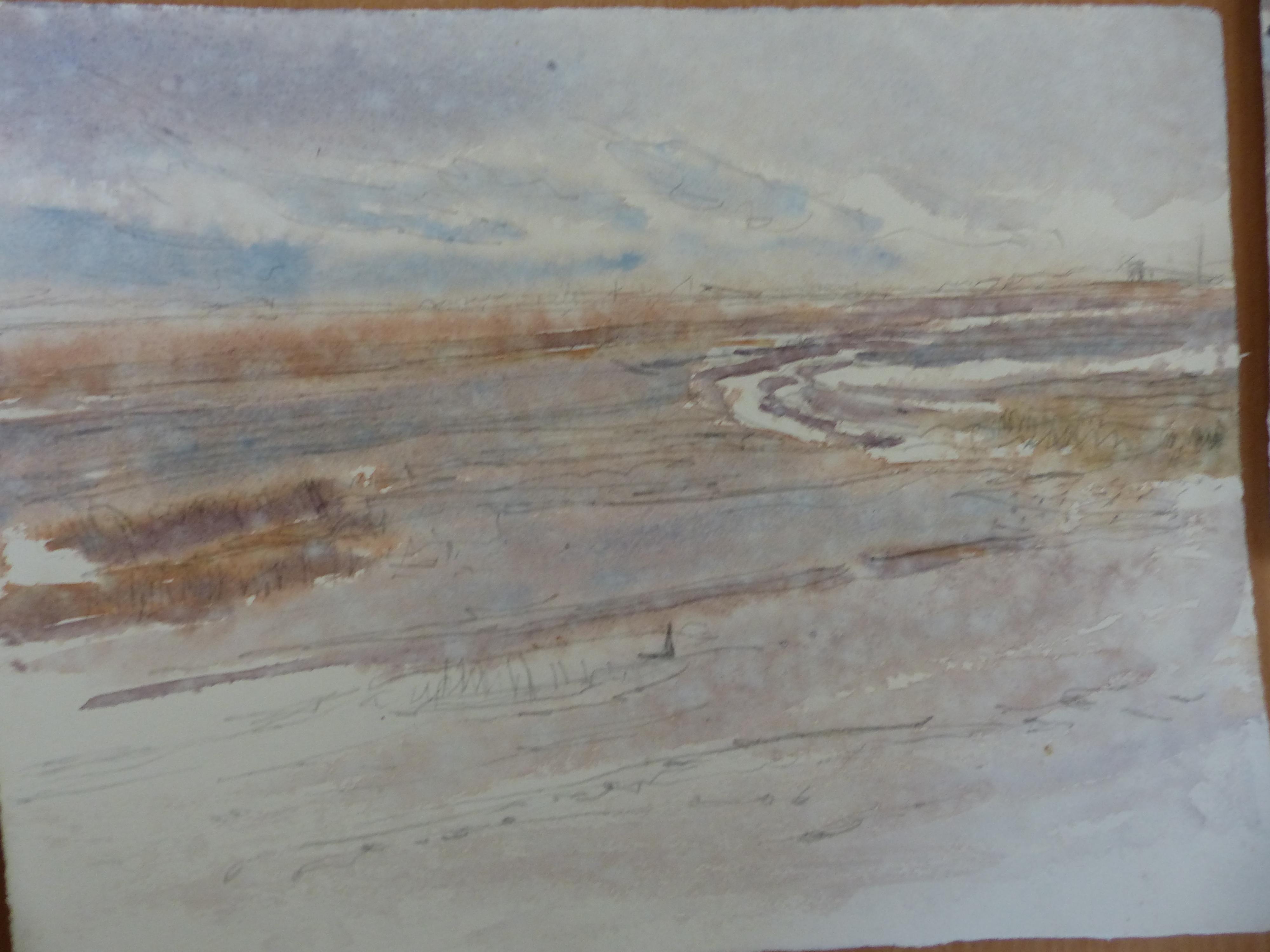 <p>Robert Greenhalf's rain-soaked watercolour</p>