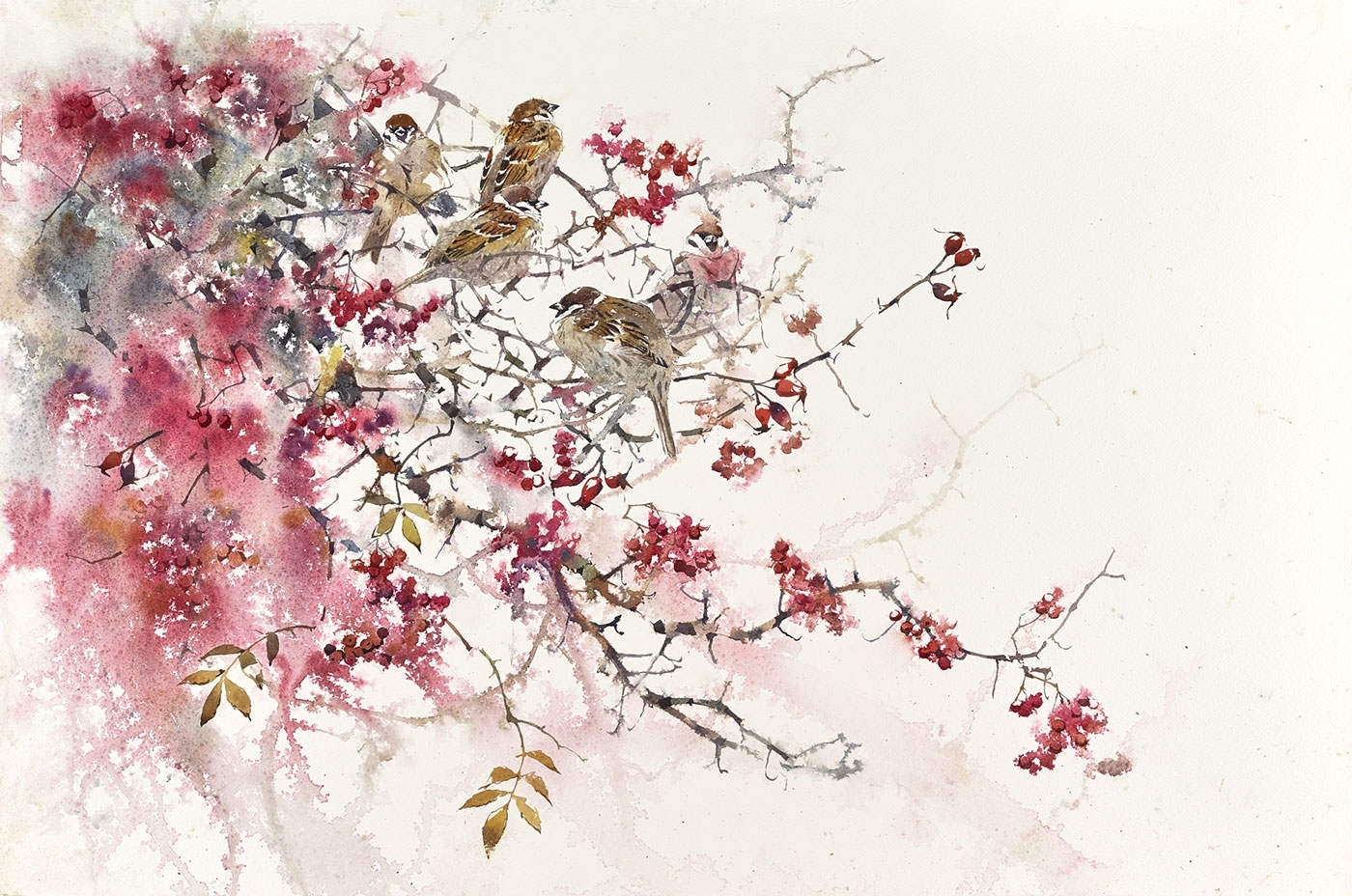 Tree Sparrows in Autumn hedgerow, watercolour on paper, 92 x 127 cm