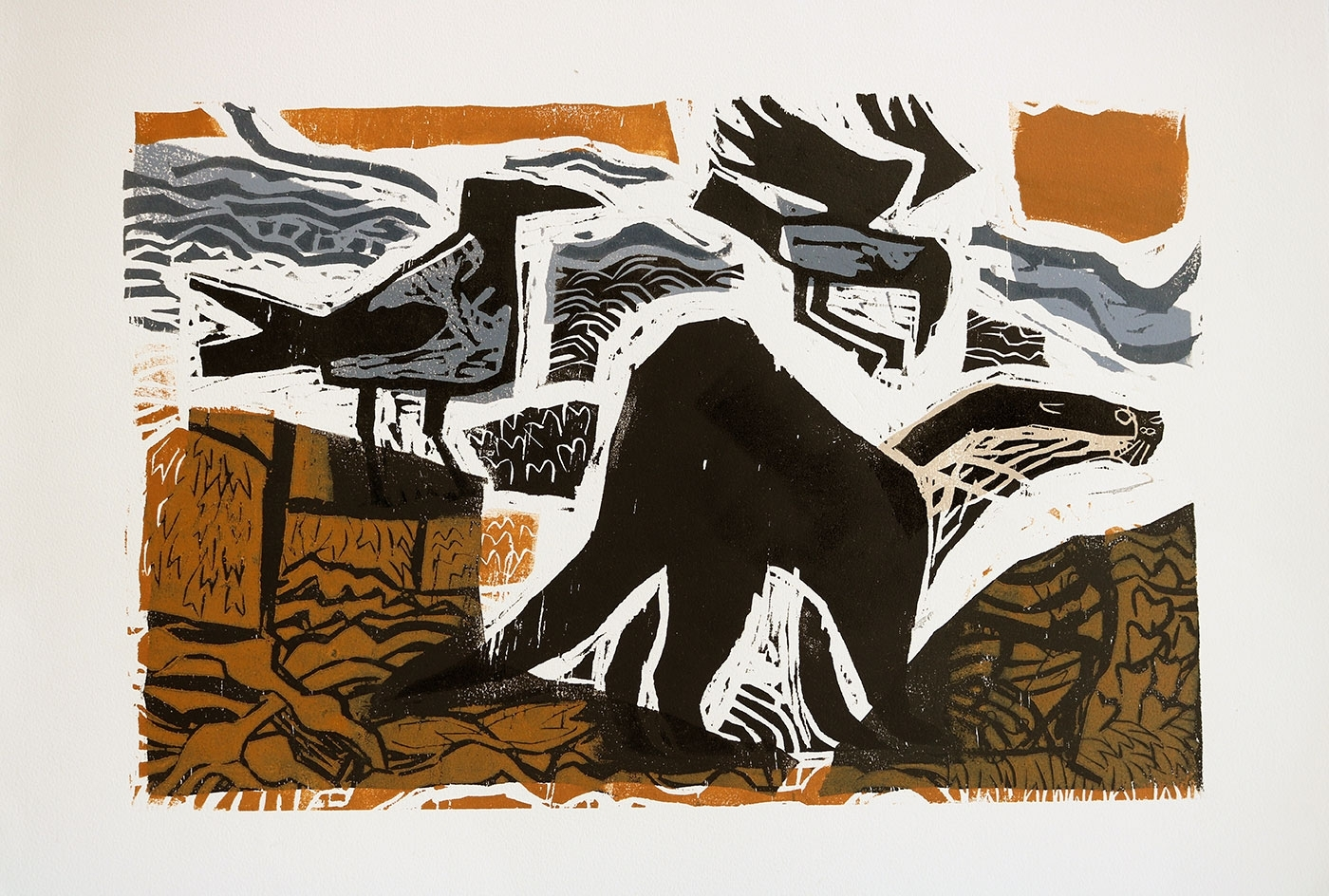Otter and Hooded Crows, Relief print, 52 x 76 cm, Greg Poole