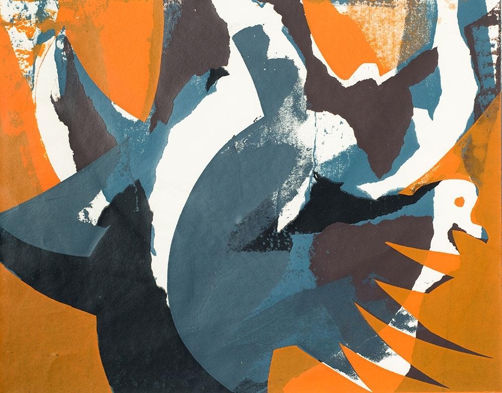 John Paige, Wood Pigeons Rising, screenprint