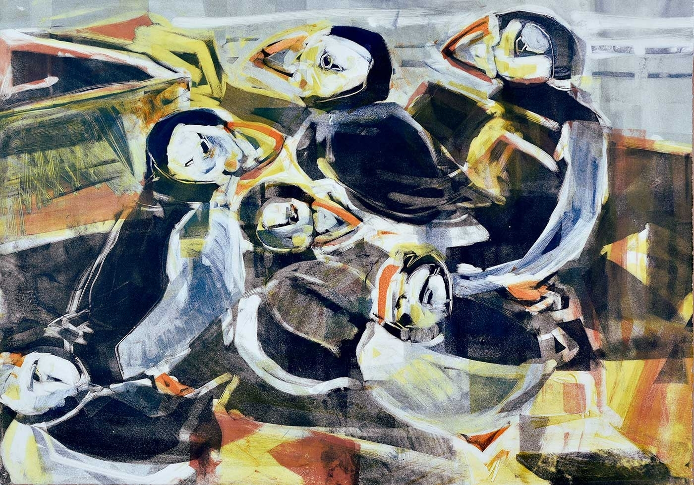 Puffins, monotype on paper, 42 x 60 cm