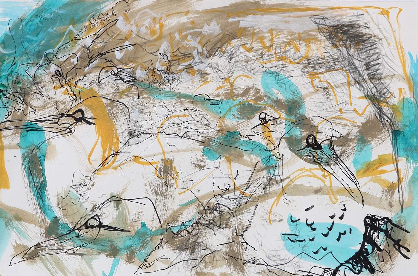 Colony 3 - Gannets, Bass Rock, mixed media