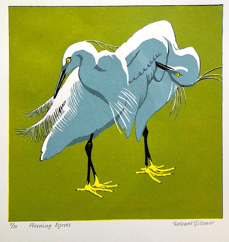 <p>Preening Egrets</p>
