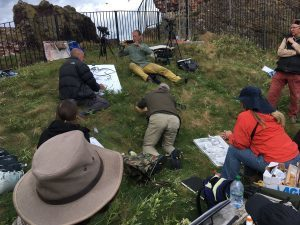 'How to draw birds' demonstration at Dunbar Harbour