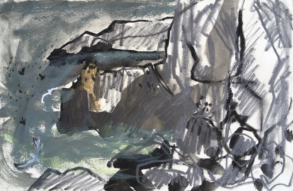 Large swell, St Abb's Head, pencil ink wash and soft pastel, Emily Ingrey-Counter