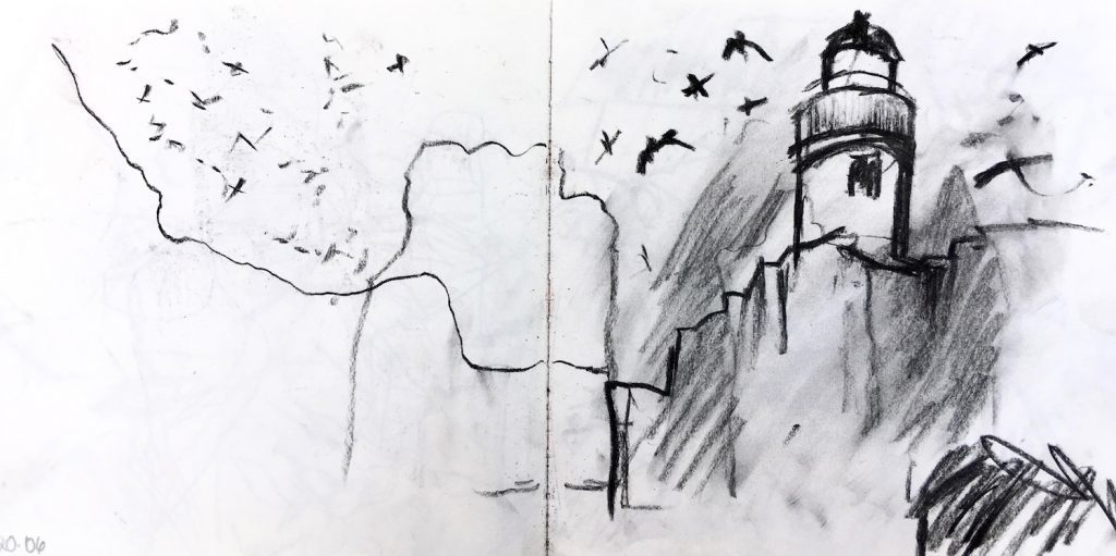 Bass Rock lighthouse from the boat, sketchbook page, charcoal drawing, Emily Ingrey-Counter