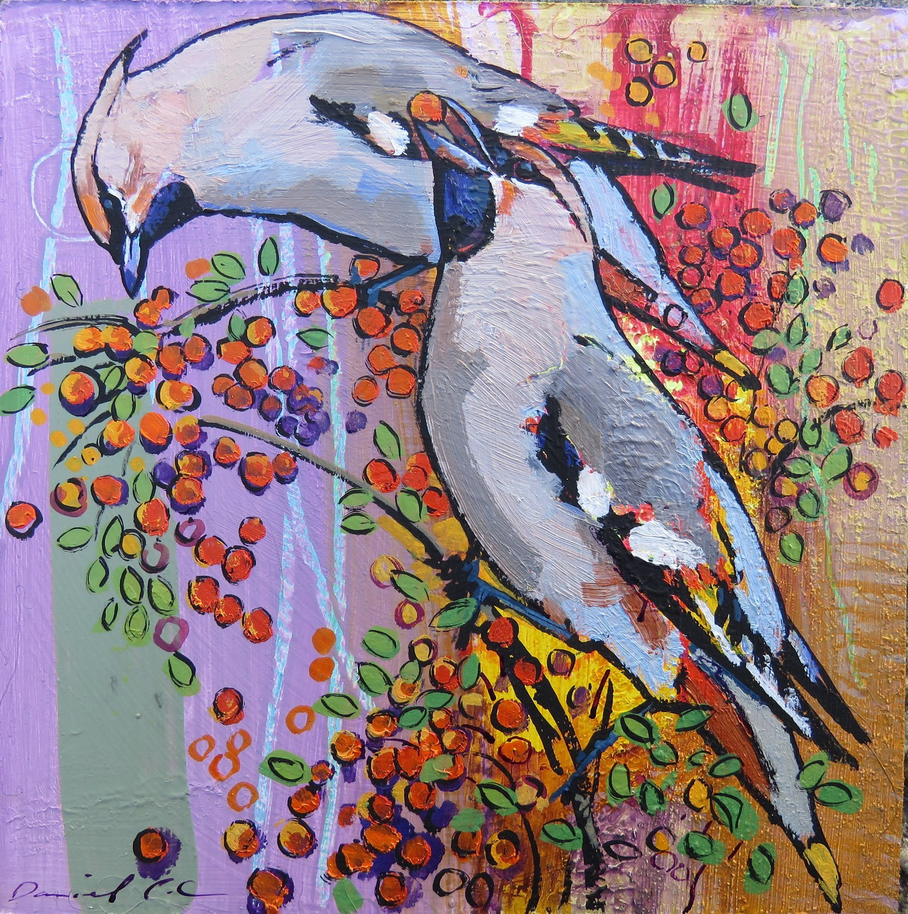 <p><em>Waxwings</em>, painting by Dan Cole</p>