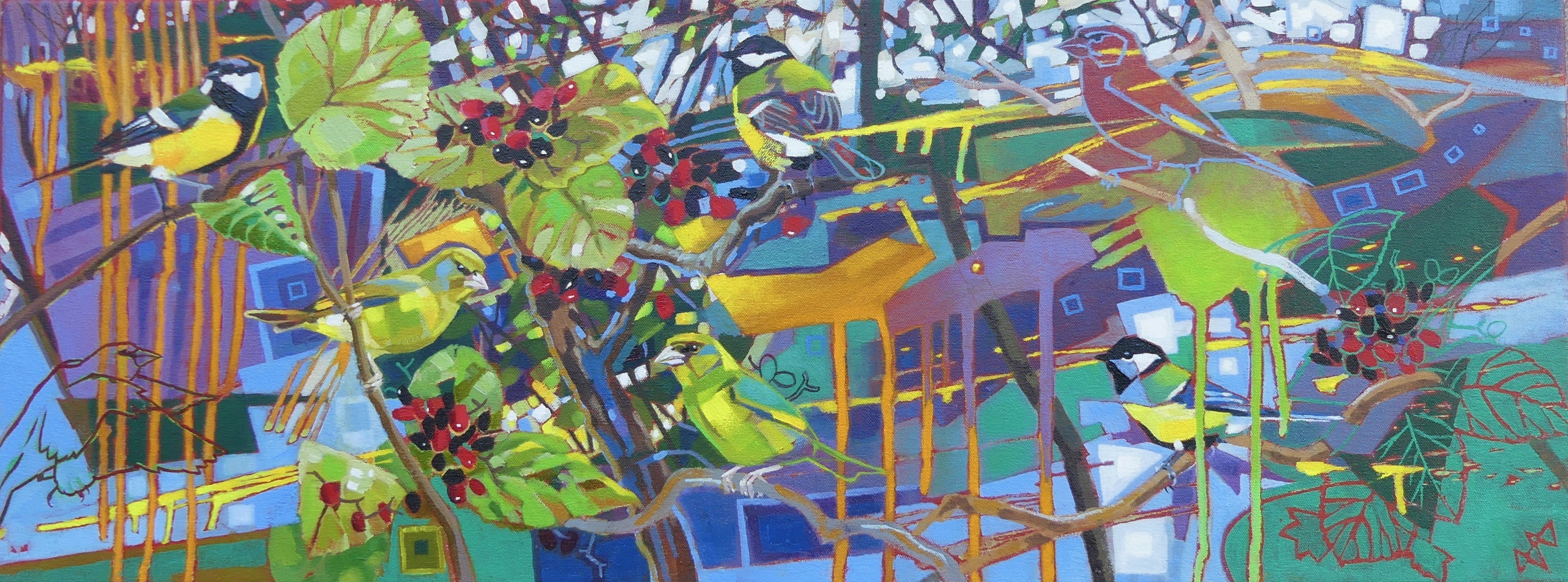 <p>Greenfinches, Great Tits and Wayfaring Tree by Brin Edwards</p>