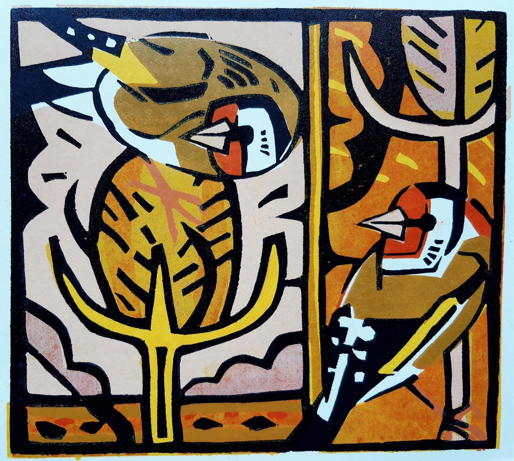 <p>Autumn Goldfinches by Johnnie Foker</p>