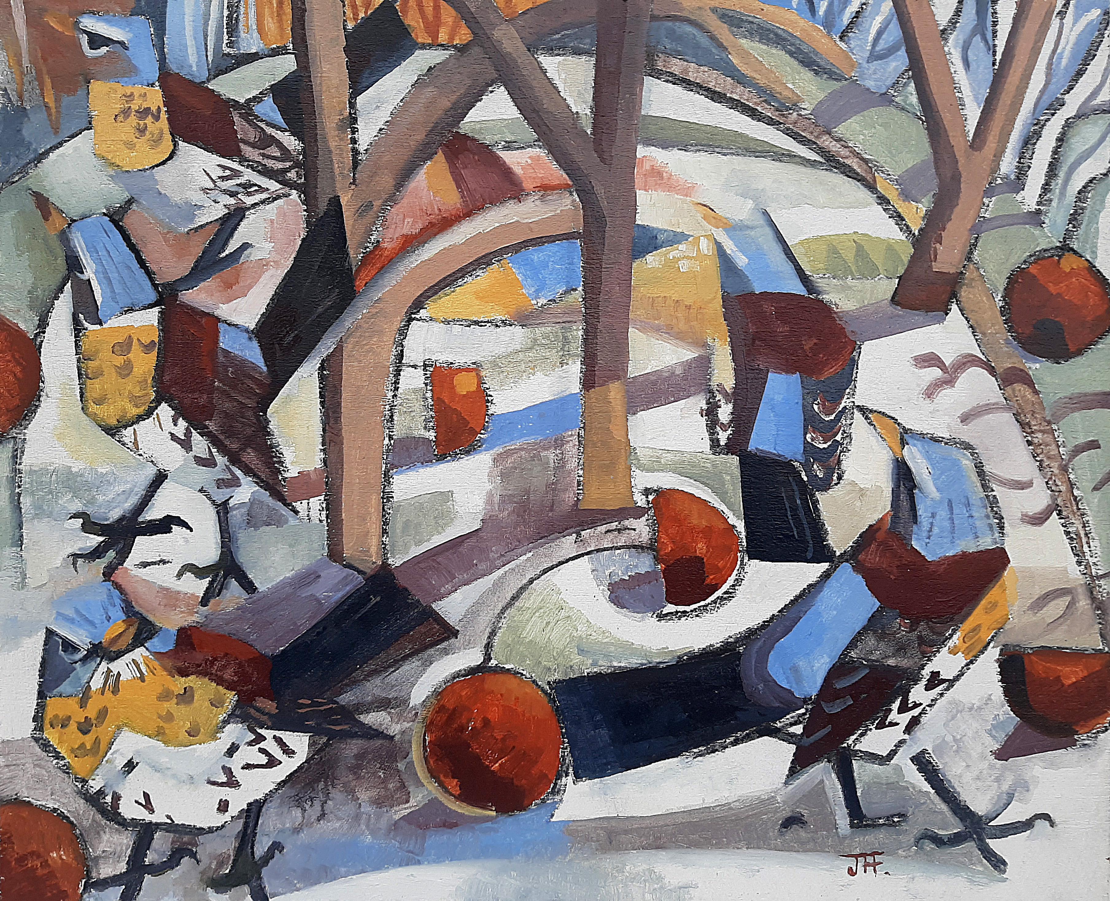 Fieldfares Winter Orchard by John Foker