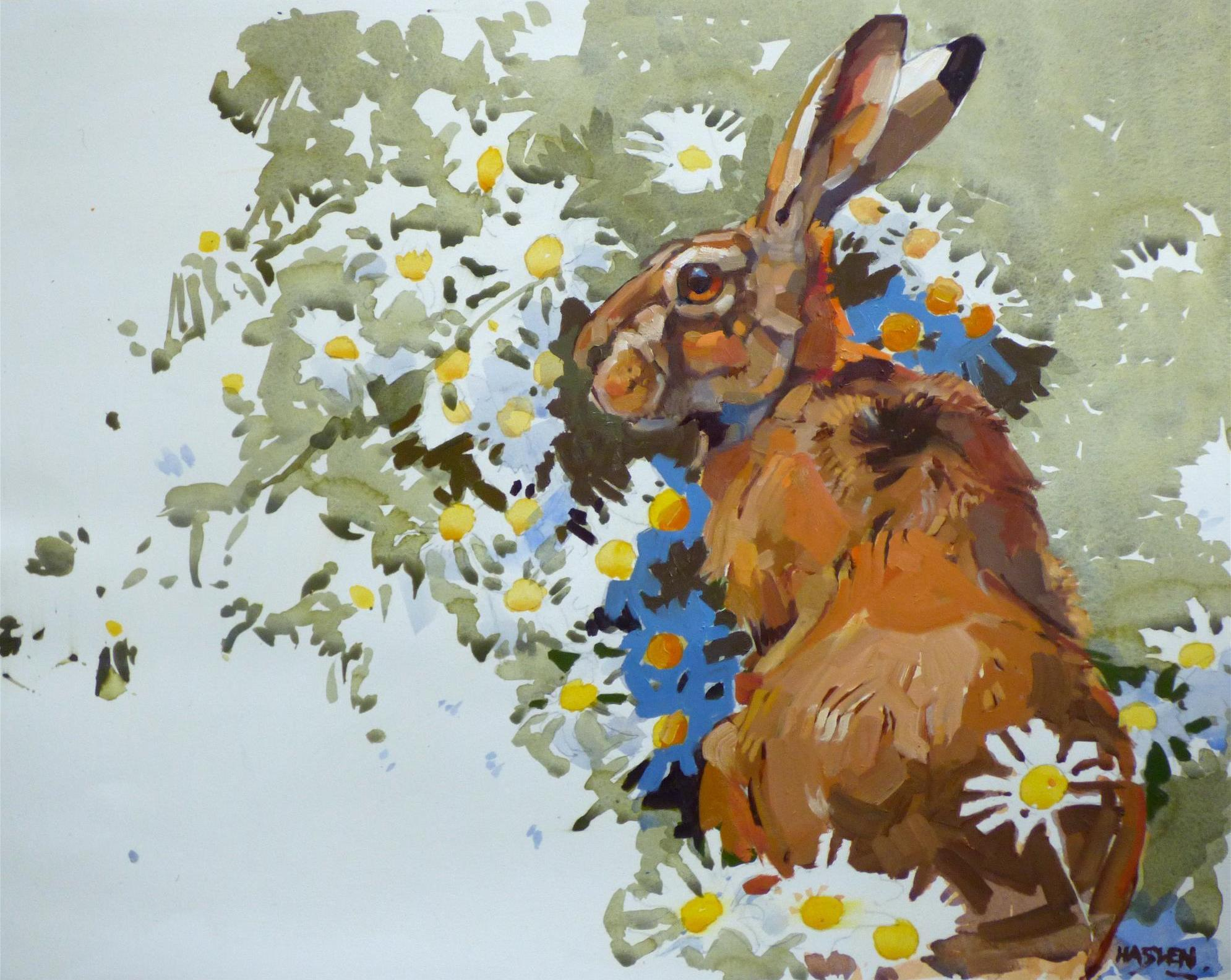 Hare and Daisies by Andrew Haslen