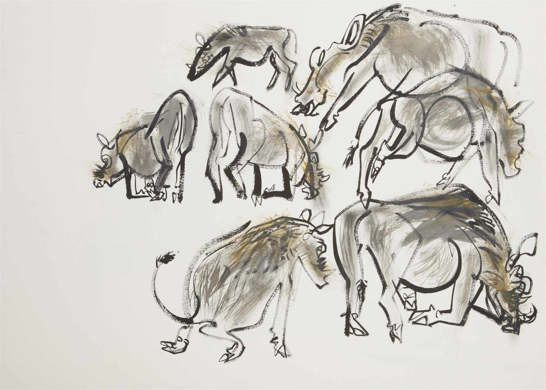 <p>A warthog family appear by Wynona Legg</p>
