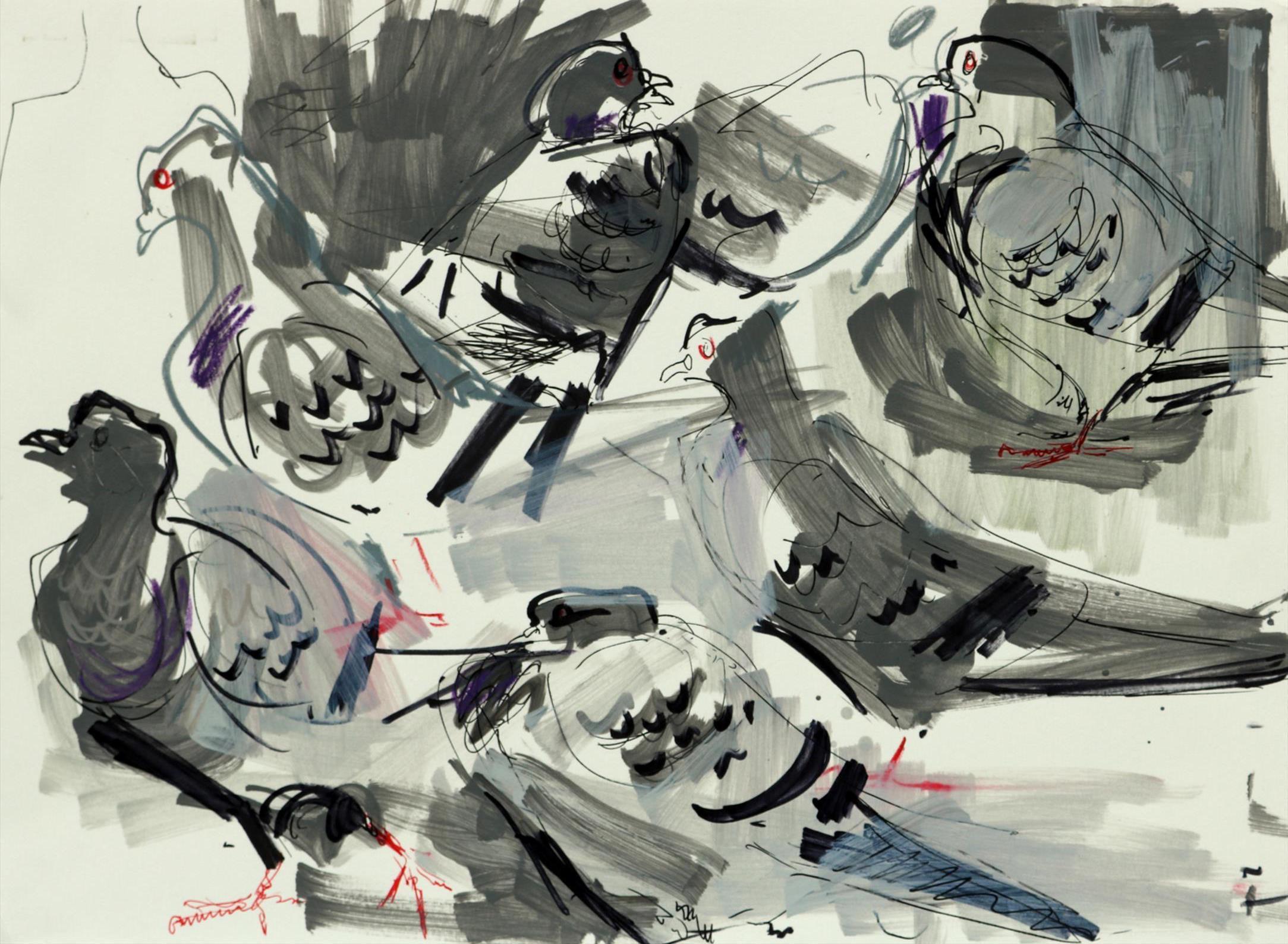 Feral Pigeons 2 by Nik Pollard