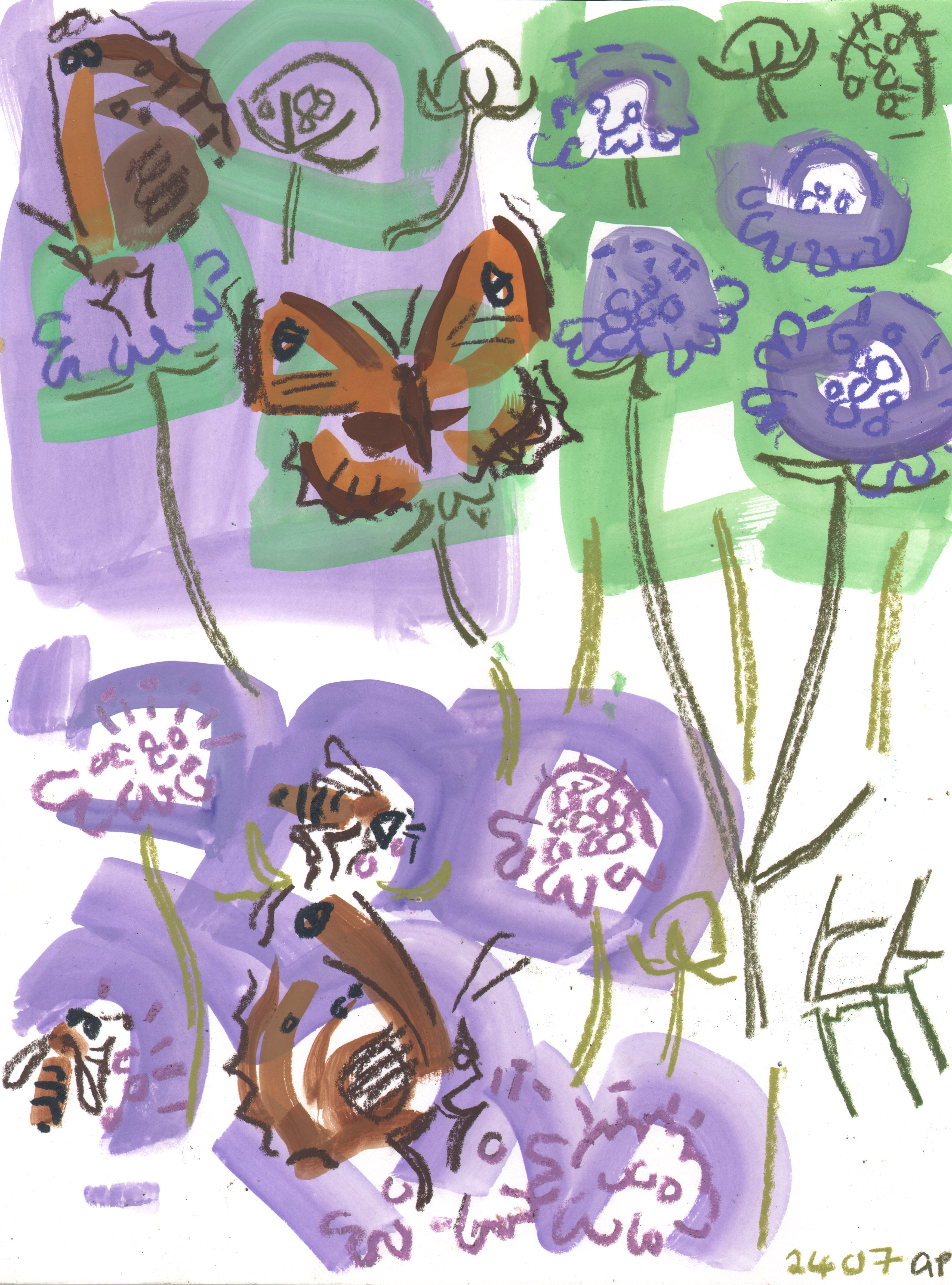 <p>Gatekeepers and bees on Scabious</p>