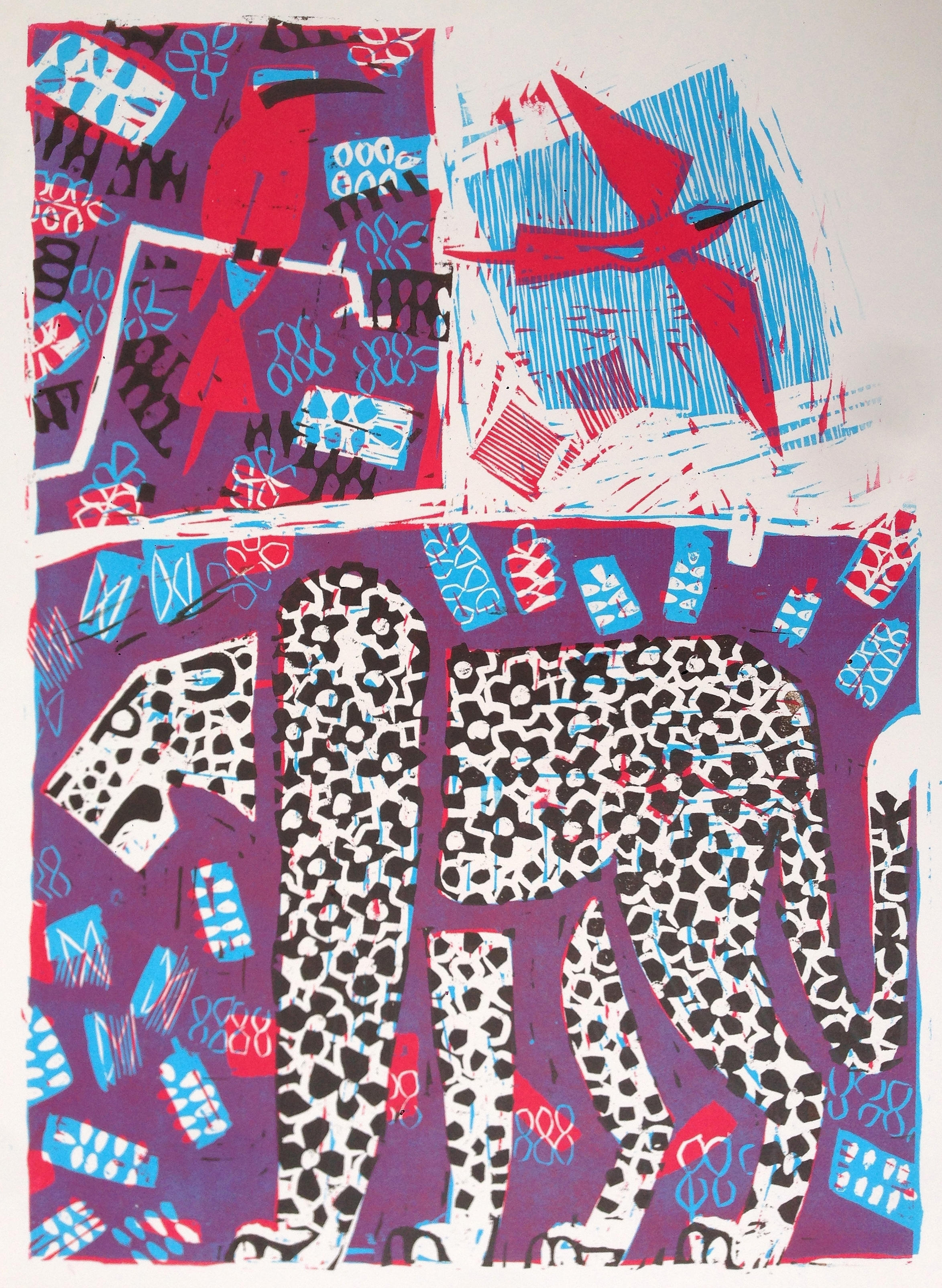 Leopard and Carmine Bee eaters, Relief print by Greg Poole
