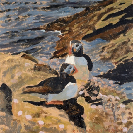 Puffin pair, oil on board, 24 x 24 cm Bob Greenhalf