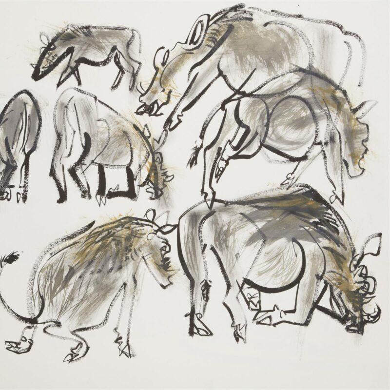 A warthog family appear by Wynona Legg