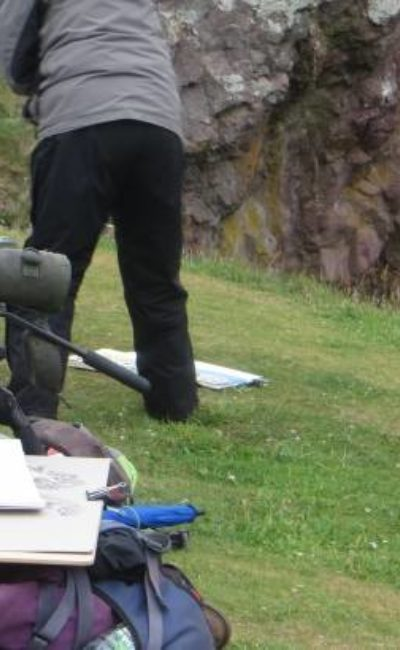 Wynona painting on the cliffs of St Abbs Head