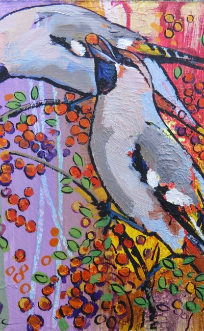 Waxwings, painting by Dan Cole