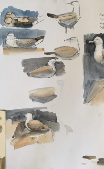 Study showing the working out of form using warm and cool tones