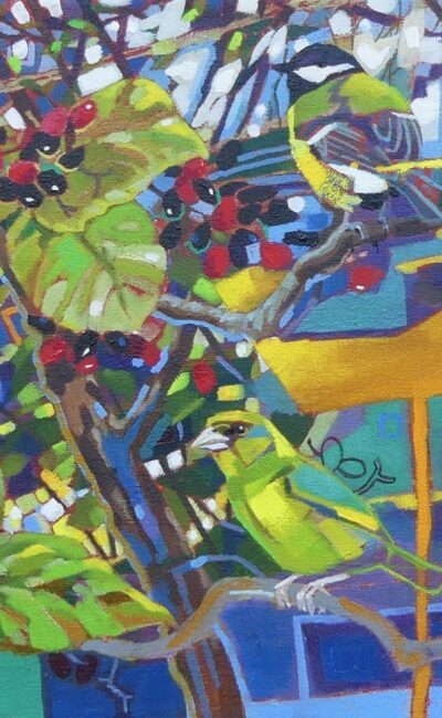 Greenfinches, Great Tits and Wayfaring Tree by Brin Edwards