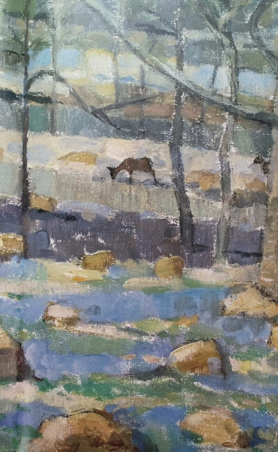 John Busby Oaks, deer and bluebells, Ariundle