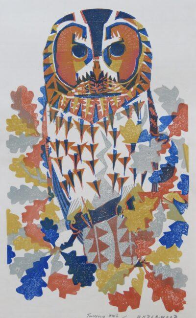 Tawny Owl, a woodblock print by Matt Underwood